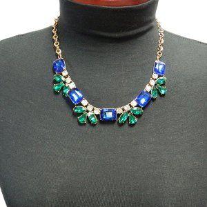 Vintage Inspired Rhinestone Collar Gold Necklace